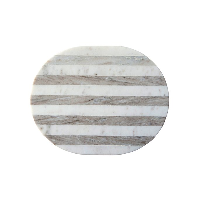 Oval Grey & White Striped Marble Cheese/Cutting Board Thumbnail