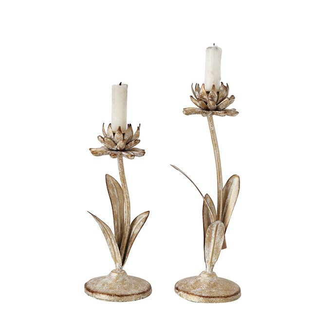 Cut Metal Flower Shaped Taper Candleholder in Distressed Gold Finish (Set of 2 Sizes) Thumbnail