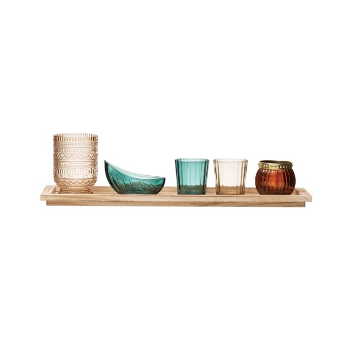 Paulownia Wood Tray with 5 Glass Votive/Tealight Holders (Boxed Set of 6 Pieces) Thumbnail