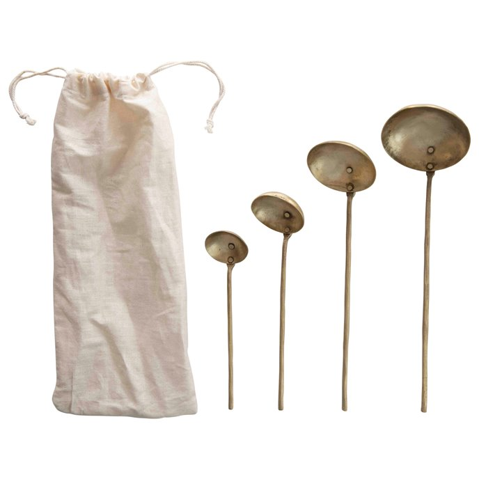 Brass Ladles with Round Handles & Hammered Texture (Set of 4 Sizes in Drawstring Bag) Thumbnail