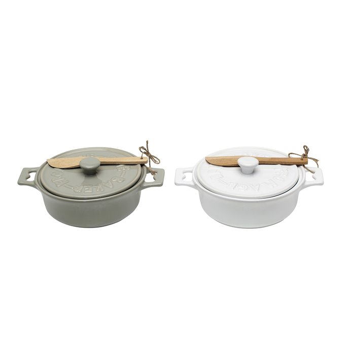 Brie Bakers with Lids & Wood Spreaders (Set of 2 Colors) Thumbnail