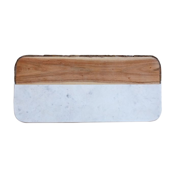 White Marble & Mango Wood Rectangle Cheese Board (Each one will vary) Thumbnail