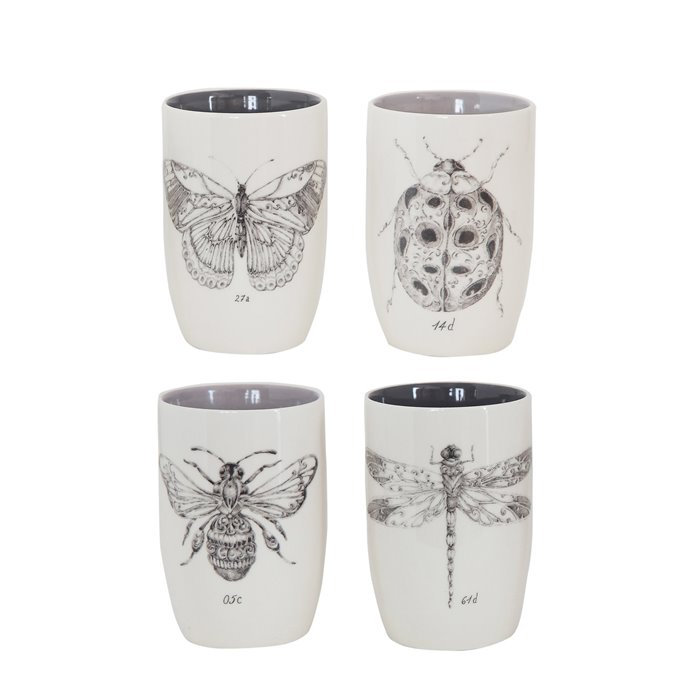 Stoneware Tumblers with Insect Images (Set of 4 Designs) Thumbnail