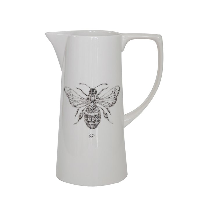 White Ceramic Pitcher with Bee Image Thumbnail