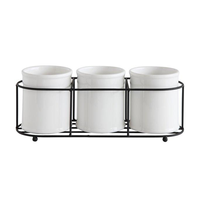 Set of 3 White Ceramic Crocks in Black Metal Holder Thumbnail