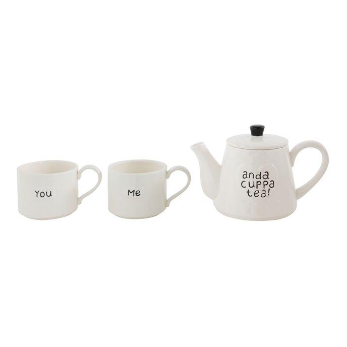 """""""You Me and a Cuppa Tea"""" White Stoneware Teapot with 2 Mugs (Set of 3 Pieces) Thumbnail"""