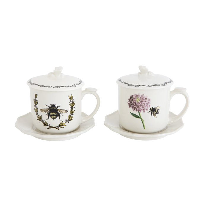 Cup with Bee Image, Lid, Saucer & Strainer (2 Styles with 4 Pieces Each) Thumbnail
