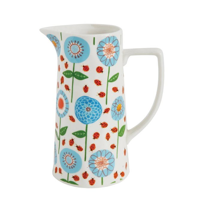 Blue & Red Floral Stoneware Pitcher Thumbnail