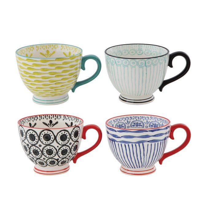 Hand Painted Stoneware Cups (Set of 4 Designs) Thumbnail