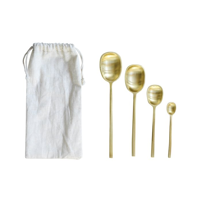Brass Spoons with Drawstring Bag (Set of 4 Sizes) Thumbnail