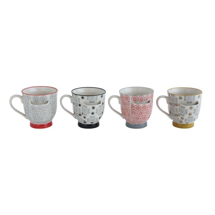 Decorative Stoneware Mugs with Tea Bag Holders (Set of 4 Designs) Thumbnail