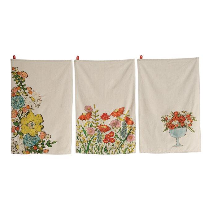 Cotton Tea Towels with Floral Images (Set of 3 Designs) Thumbnail