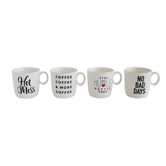 """""""Hot Mess"""", """"No Bad Days"""" and More Stoneware Mugs (Set of 4 Designs/Sayings) Thumbnail"""