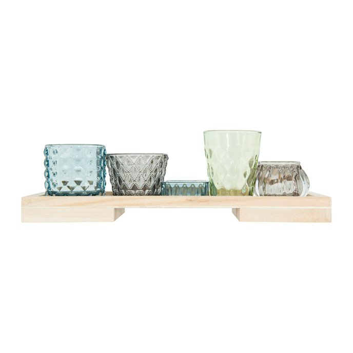 Glass Votive/Tealight Holders on Wood Tray (Set of 5 Pieces) Thumbnail