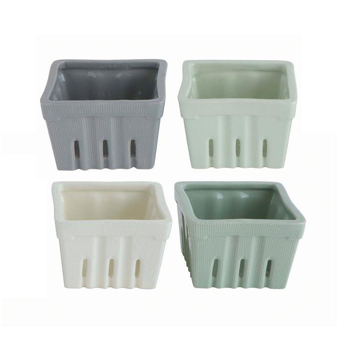 Square Stoneware Berry Bowls (Set of 4 Colors) Thumbnail