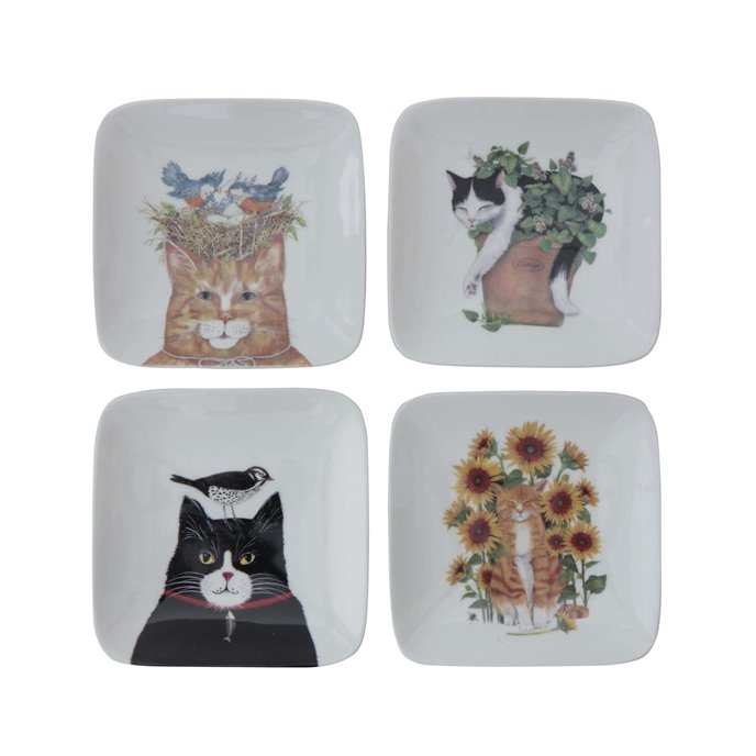 Square Stoneware Plate with Cat Image (Set of 4 Styles) Thumbnail