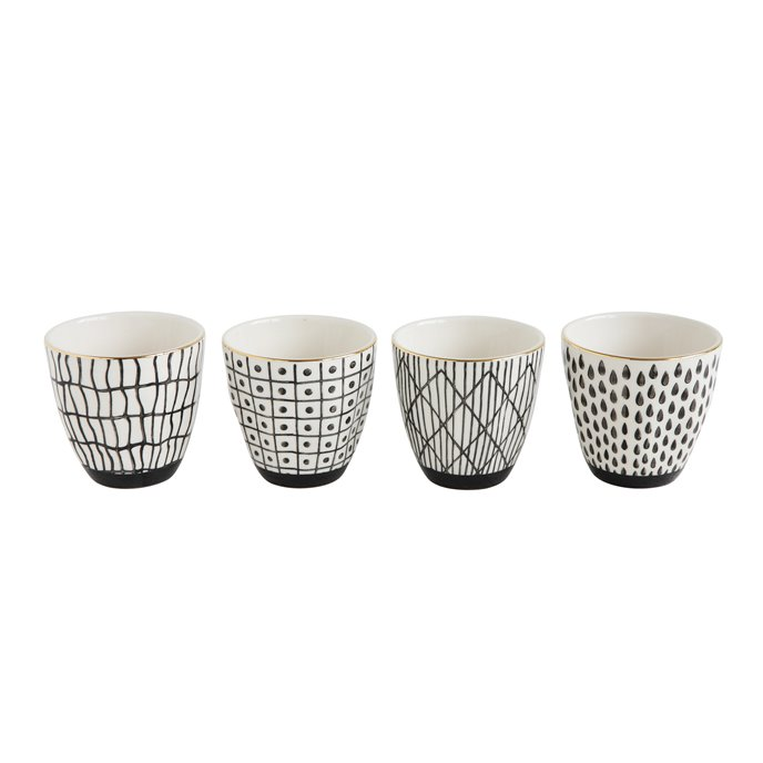 Black & White Stoneware Cup with Gold Electroplating (Set of 4 Designs) Thumbnail
