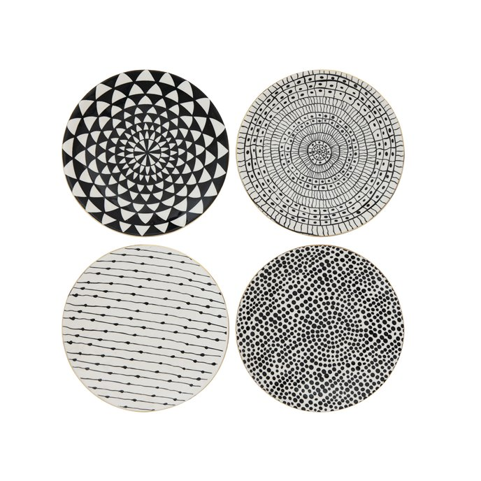 Black & White Stoneware Plate with Gold Electroplating (Set of 4 Designs) Thumbnail