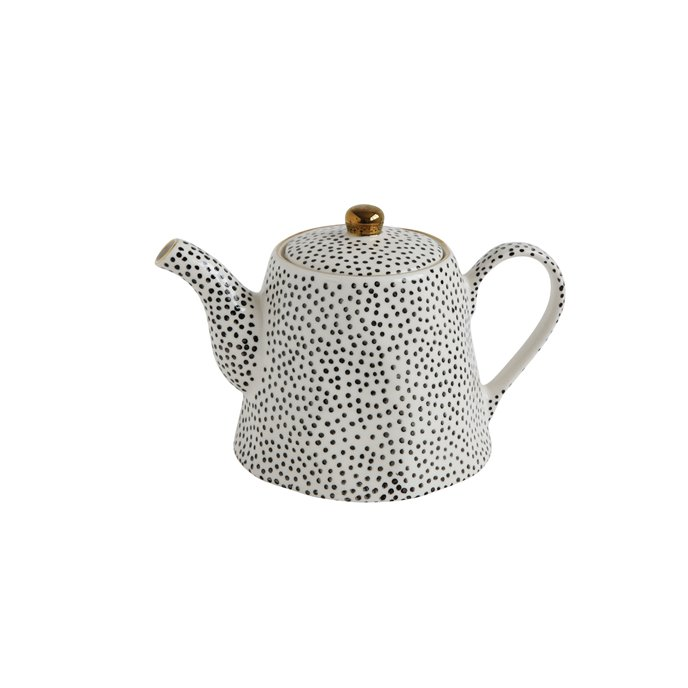 White Stoneware Teapot with Black Speckles & Gold Electroplating Thumbnail