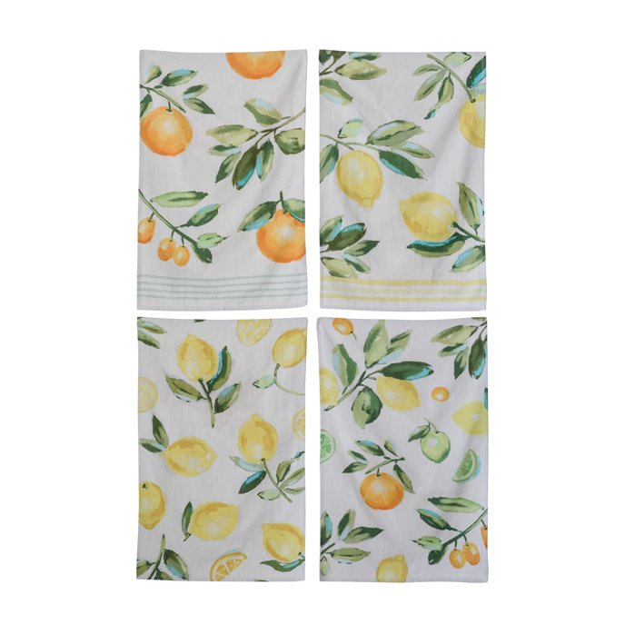 Cotton Citrus Fruit Tea Towels (Set of 4 Designs) Thumbnail