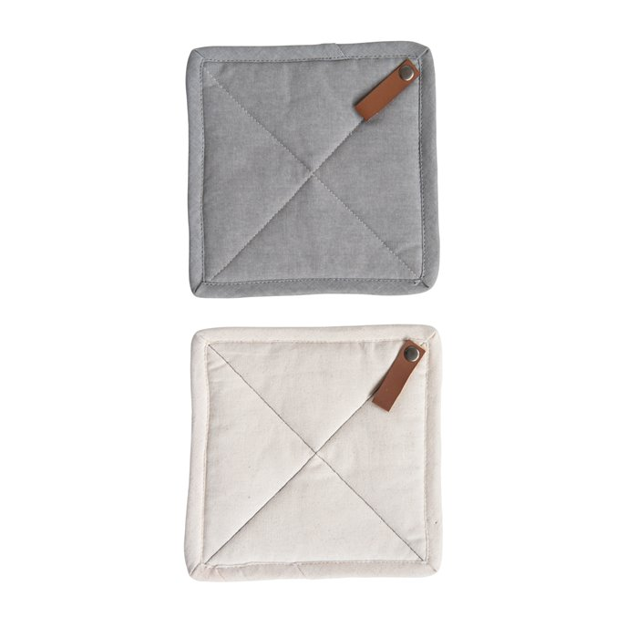 Square Cotton Pot Holder with Leather Loop (Set of 2 Colors) Thumbnail