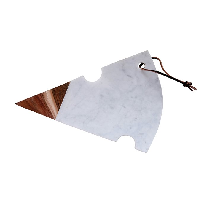Cheese Shaped Cutting Board in White Marble & Acacia Wood Thumbnail