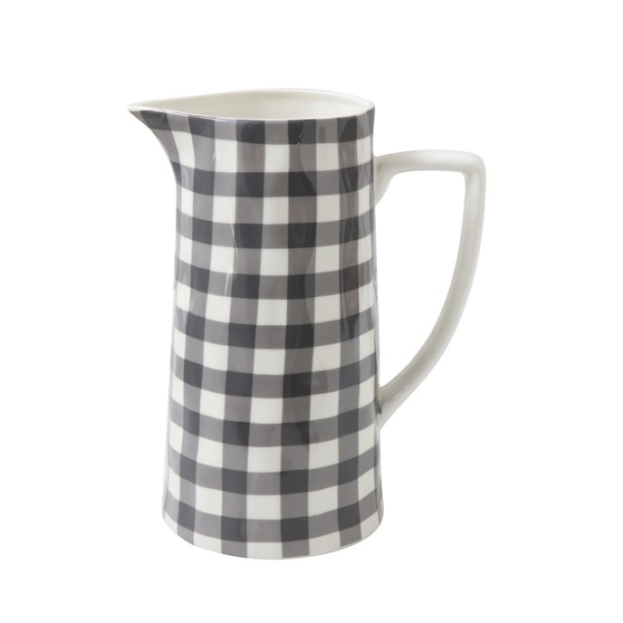 Black & White Gingham Stoneware Pitcher Thumbnail