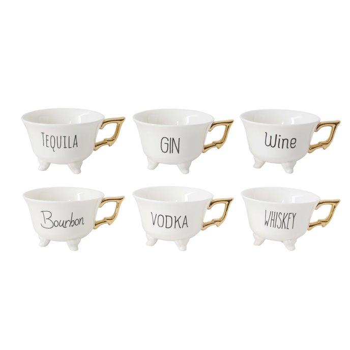 "Stoneware ""Liquor"" Mugs with Gold Electroplating (Set of 6 Designs) Thumbnail"