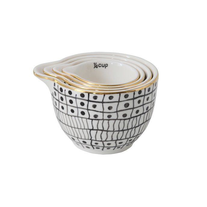 Black & White Stoneware Measuring Cups with Gold Electroplating (Set of 4 Sizes) Thumbnail