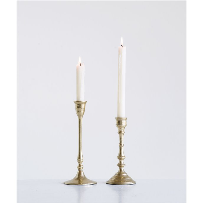 Decorative Gold Aluminum Taper Holders (Set of 2 Sizes) Thumbnail
