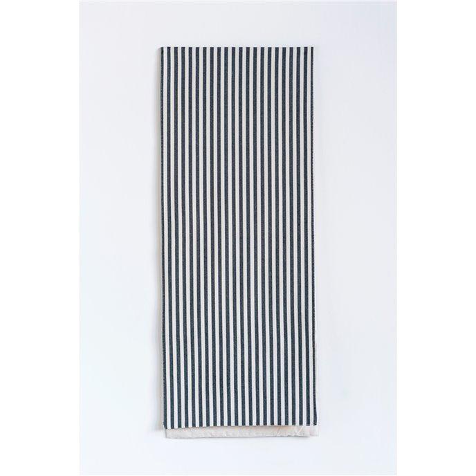 Black & White Striped Cotton Table Runner Thumbnail