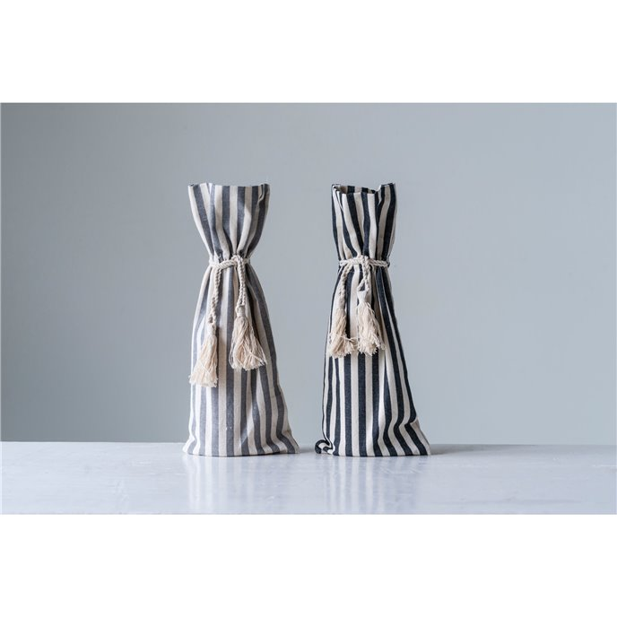 Grey Cotton Striped Wine Bag with Tassels (Set of 2 Colors) Thumbnail