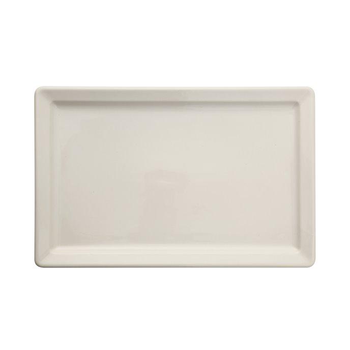 Large Antique White Vintage Reproduction Rectangle Stoneware Platter Thumbnail