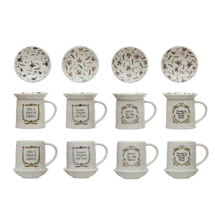 "Stoneware Mug w/ 4"" Round Snack Plate Topper & Saying, 4 Styles, Set of 2 Thumbnail"