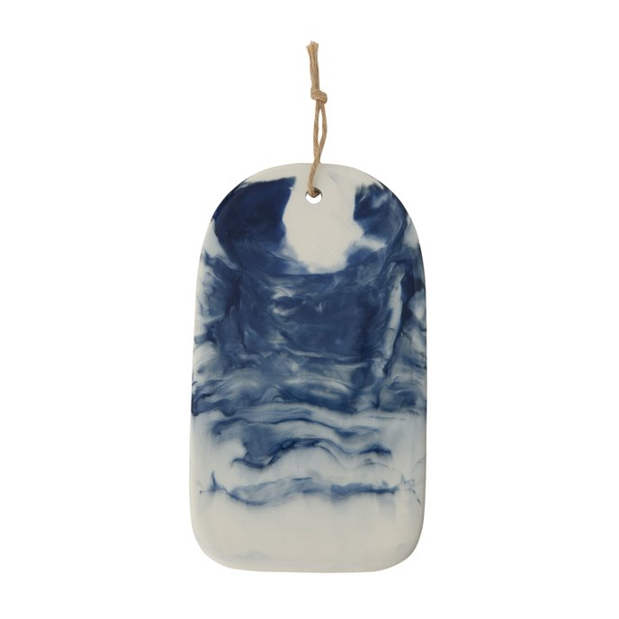 Blue & White Ceramic Cheese/Cutting Board with Marble Glaze Finish Thumbnail