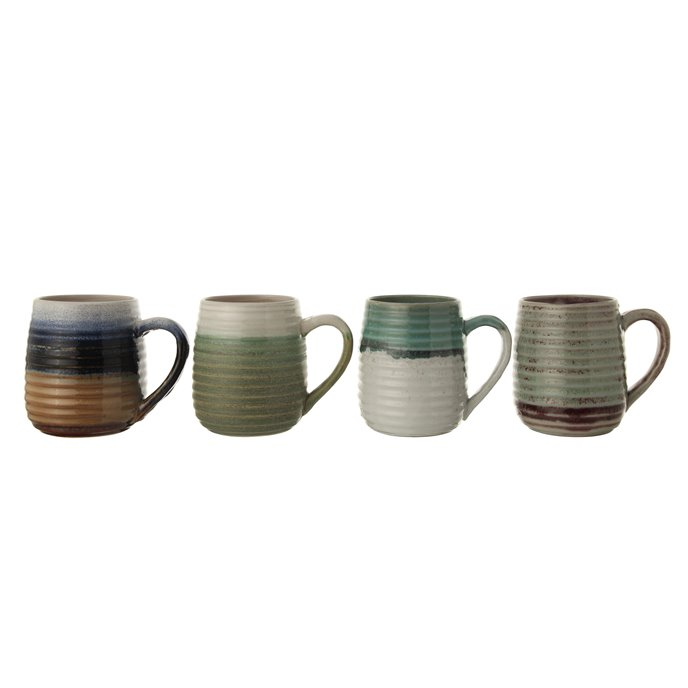 Large Multicolor Stoneware Mugs with Ribbed Sides (Set of 4 Colors) Thumbnail