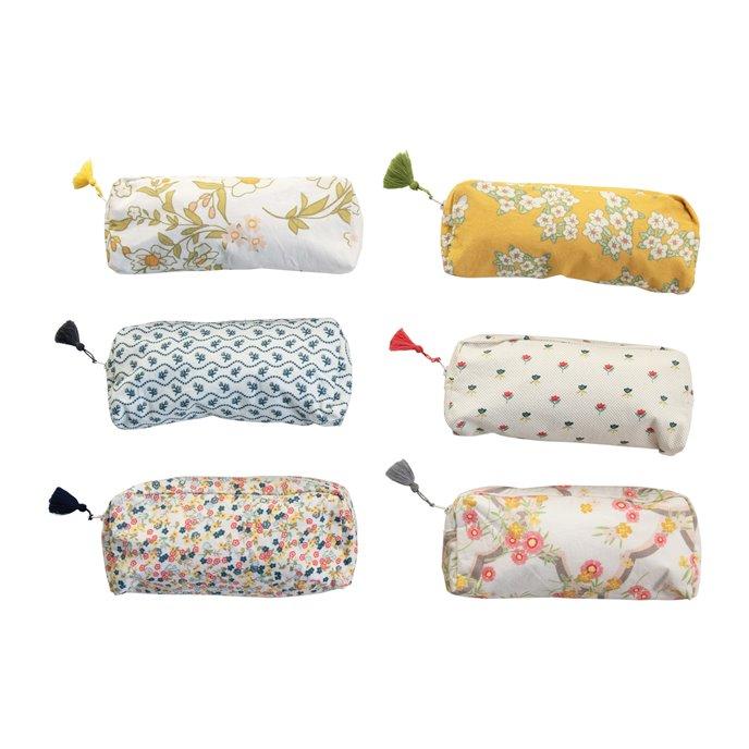 Cotton Printed Mandi Zip Pouch w/ Tassel & Interior Coating, 6 Styles © Thumbnail