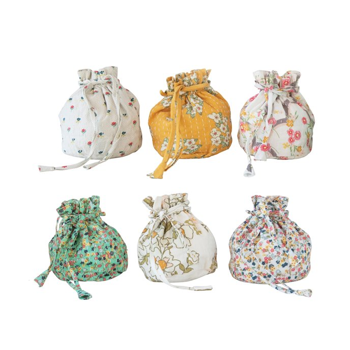 Stitched Cotton Agra Drawstring Pouch, 6 Styles © Thumbnail