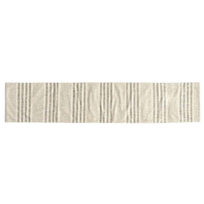 Grey Striped Cotton Woven Table Runner Thumbnail
