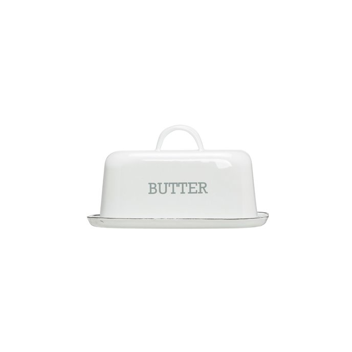 "White Enameled Steel ""Butter"" Dish with Black Rim Thumbnail"