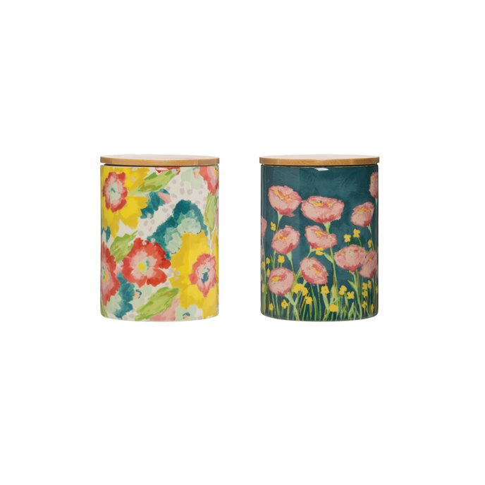 Floral Stoneware Canister with Bamboo Lid (Set of 2 Styles) Thumbnail