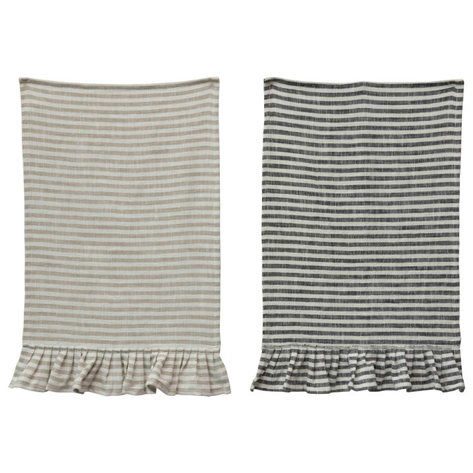 Striped Cotton Tea Towel with Ruffles (Set of 2 Colors) Thumbnail