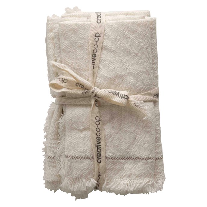 """18"""" Square Cotton Woven Napkins with Stitch Accent & Fringe (Set of 4) Thumbnail"""
