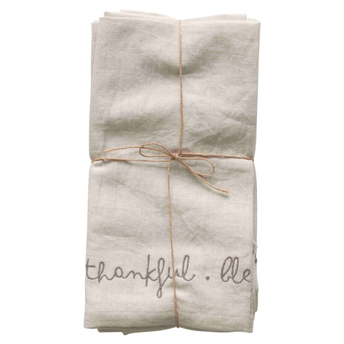 """18"""" Square Embroidered """"Grateful, Thankful, Blessed"""" Cotton/Linen Woven Napkins (Set of 4 Pieces) Thumbnail"""