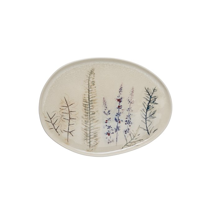 """13.75"""" Oval Debossed Floral Stoneware Platter with Reactive Crackle Glaze Finish (Each one will vary) Thumbnail"""