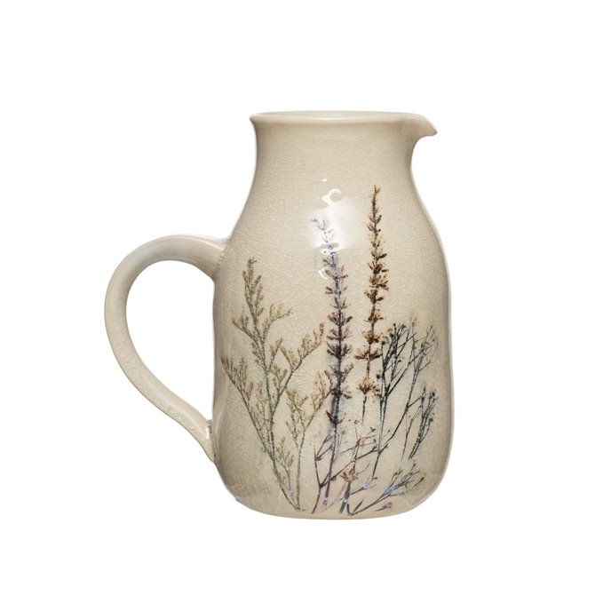 32 oz. Stoneware Debossed Floral Pitcher with Reactive Crackle Glaze Finish (Each One Will Vary) Thumbnail
