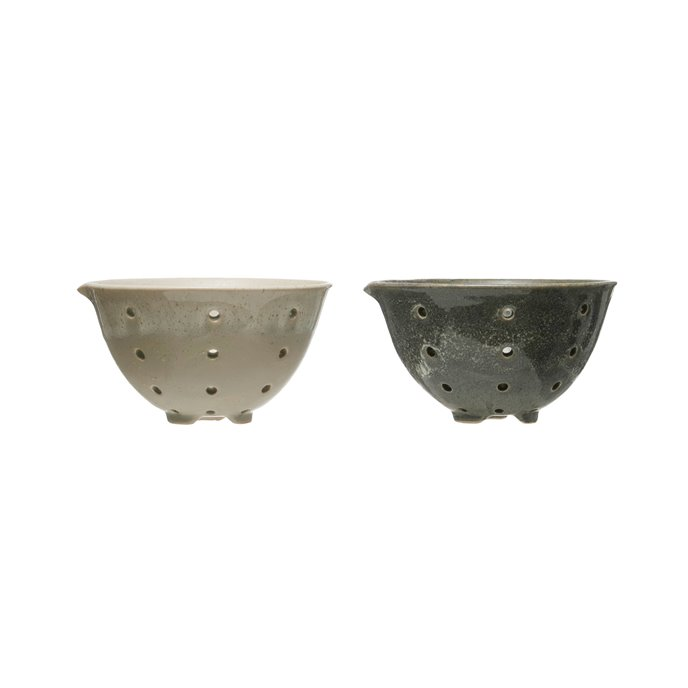 Round Stoneware Berry Bowls with Spouts & Reactive Glaze Finishes (Set of 2 Colors) Thumbnail