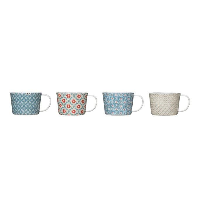 12 oz. Enameled Floral Mug with Distressed Finish (Set of 4 Patterns) Thumbnail
