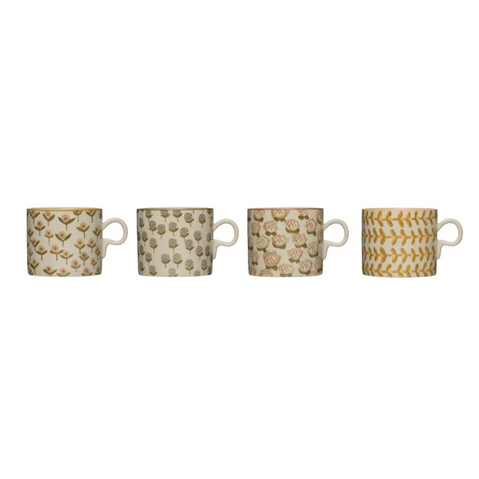12 oz. Stoneware Mug (Set of 4 Hand-Stamped Patterns) Thumbnail