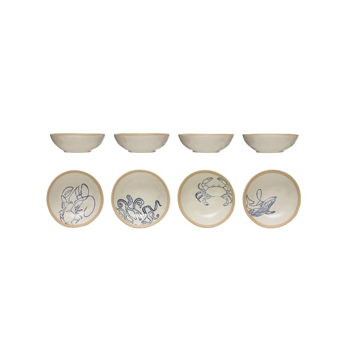 Hand-Painted Stoneware Bowl with Sea Life (Set of 4 Styles) Thumbnail